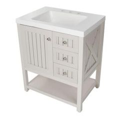 Martha Stewart Living, Seal Harbor 30 in. Vanity in Sharkey Gray with Vanity Top in Alpine White, SL30P2COM-SG at The Home Depot - Mobile