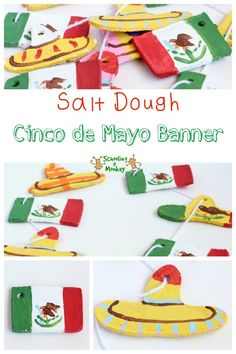Add a crafty side to your Cinco de Mayo unit study with this fun Cinco de Mayo banner made from salt dough! Plus tons of educational Cinco de Mayo ideas! Mexican Flag Picture, Crafts For Boys, Fun Crafts, Mexico For Kids, Mexican Christmas, Fun Activities For Kids, Educational Activities, Salt Dough, Teaching Art