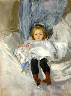Gilded Age portrait painted: John Singer Sargent. Portrait of, Ruth Sears Bacon, with doll, c.1887. Located at: The Wadsworth Atheneum, Hartford, Ct.