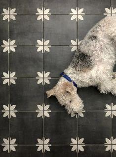 DIY Heated Floor Tile Tutorial - Room for Tuesday Painted Bathroom Floors, Black Tile Bathrooms, Painting Bathroom Tiles, Painting Tile Floors, Painted Floors, Bathroom Floor Tiles, Painted Floor Tiles, Home Depot Bathroom Tile, Bathroom Inspo