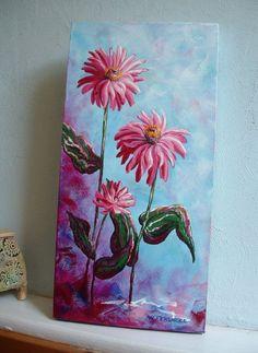 BONITA  Pink Zinnias  10 x 20 Original Acrylic on by HollyFerencze, $72.95