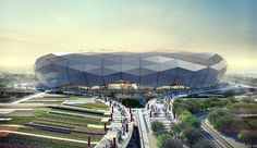Image 9 of 11 from gallery of Qatar Unveils Designs for Fourth World Cup Stadium. Courtesy of SC Futuristic Architecture, Sustainable Architecture, Amazing Architecture, Architecture Design, Soccer Stadium, Football Stadiums, Qatar World Cup Stadiums, Qatar Stadium, Modern Architecture