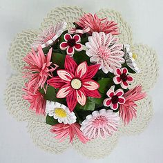 A Pink Quilled Paper Art 3D Bouquet Floral by AGiftwithinaGift