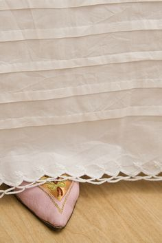 A regency cotton petticoat, the trimming on the hem was inspired by the petticoat, c. 1820, The Metropolitan Museum of Art, only the cording was replaced with tucks, because this one is intended under c. 1805 dress