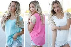 These colorful sparkle sleeve tops are the perfect go-to top if you have something fun planned! They are fabulous for date nights, girls night out, social events and so much more! They look darling paired with leggings, skinny jeans and skirts, you can't go wrong with them! Add one to your wardrobe today at pickyourplum.com!