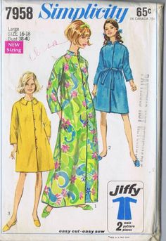 ROBE VINTAGE SEWING PATTERN 7958 SIMPLICITY SIZE 16 |18 BUST 38-40 HIP 40-42 CUT