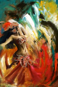 """Abstract Belly Dancer 19"", Painting / Ballerina di Danza del Ventre, pittura - Art by Corporate Art Task Force"