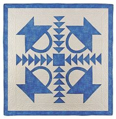 Basket with Flying Geese sashing - classic simple blue & white four block quilt.  Very effective.