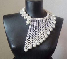 Pearl necklace.Beaded necklace.Wedding by CamelliaInLove on Etsy