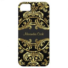Black And Gold Vintage Damasks-Monogram iPhone 5 Case by artOnWear