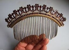 FANTASTIC LARGE GEORGIAN NATURAL FLAT GARNETS PINCHBECK COMB TIARA in Jewellery & Watches, Vintage & Antique Jewellery, Vintage Fine Jewellery   eBay Decorative Hair Combs, Vintage Hair Combs, Barrettes, Garnet Jewelry, Hair Decorations, Queen, Tiaras And Crowns, Hair Ornaments, Vintage Hairstyles
