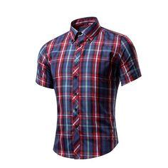 Bleuziel 2017 Summer New Fashion Brand Clothing Men's Short Sleeve Shirt Men Plaid Slim Fit Casual Social Shirt M-3XL #Affiliate