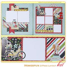 Homespun 2-Page Layout Kit, complete with instructions, by PaisleysandPolkaDots.com for a limited time featured at www.scrapclubs.com