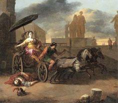 Johannes Lingelbach - De dood van Servius Tullius met Tullia in haar wagen