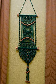Green macrame wall hanger