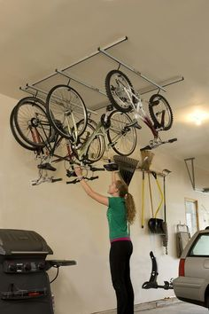 Saris Cycle Glide Bike Storage System - Ceiling Mount - 4 Bikes Saris Bike Storage Gliding Rails on Bicycle Storage Garage, Bike Storage Rack, Car Bike Rack, Garage Storage, Bicycle Garage, Bicycle Rack, Motorcycle Garage, Bike Storage Systems, Ceiling Storage Rack