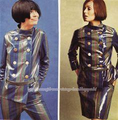 Raincoat - 1966 skirt suit pants vinyl pvc rain coat stripe striped 60s 1960