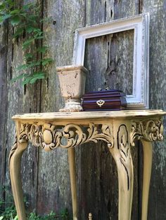 This adorable table is painted in Wise Owl Beeswax and distressed to reveal its detail and charm. I just love the dimension and detail on this table!