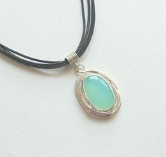 Chalcedony Gemsto Leather Rope Sterling Silver by SevimsDesign, $60.00