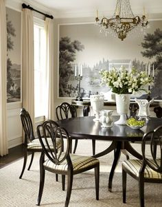 Dining Room With Black And White Pastoral Wallpaper, A Crystal Chandelier,  Round Dark Wood Table With Matching Chairs And A Dark Wood Floor. Iu0027m In  Love❤.