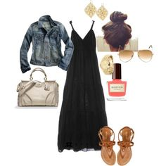 I love the black maxi dress with the blue jean jacket! I love the black maxi dress with the blue jean jacket! Look Fashion, Fashion Outfits, Womens Fashion, Spring Summer Fashion, Spring Outfits, Summer Maxi, Denham Jeans, Looks Style, My Style