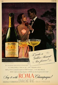 1947 Ad Roma Champagne Alcohol Beverage Sparkling Wine Dancing Couple Party Love