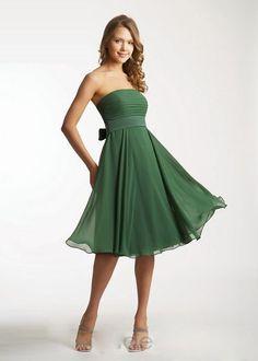 Best seller dark green strapless tea length with a sash short bridesmaid dress/cocktail dress