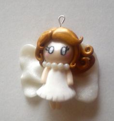 Doll Fairy Polymer Clay Charm Pearl Wings by TinySnowFlake on Etsy, €5.00