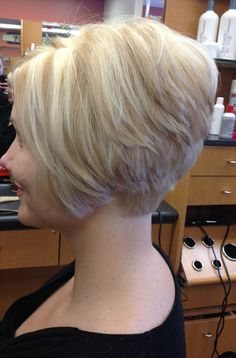 Short bob, platinum base with golden blonde lowlights and blonde hilights!