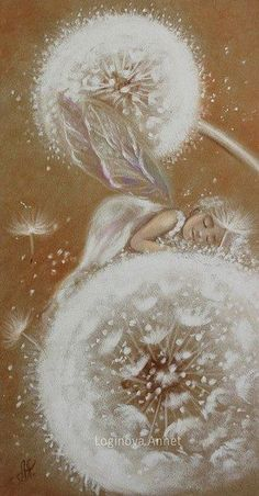 RARE little elf fairy sleeps on dandelion by Loginova Russian modern postcard Arte Latina, Art Fantaisiste, Dandelion Art, Beautiful Fairies, Flower Fairies, Angel Art, Fairy Art, Whimsical Art, Faeries