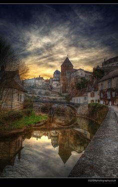 The River Armançon and Bridge - Semur-en-Auxois, Burgundy France
