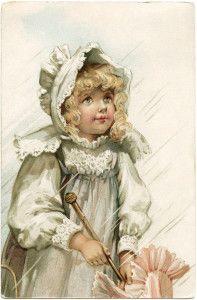victorian girl postcard, girl in rain image, free vintage ephemera, old fashioned girl dress bonnet, antique postcard child, frances brundag...