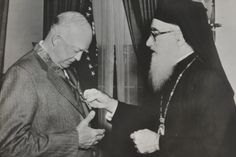 Greek Orthodox Archbishop Michael of North and South America visited President Dwight Eisenhower at the White House on March 23, 1954.