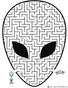 Alien shaped maze from PrintActivities.com