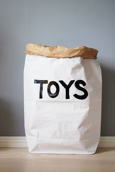 Toys paper bag storage of toys books or teddy bears - Kids interior This gorgeous toy sack is made of paper, white and brown. Durable and reusable Grocery Bag Storage, Kids Storage Bins, Toy Storage, Paper Grocery Bags, The Paper Bag, Monochrome Nursery, White Nursery, Messy Room, Paper Storage