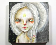 folk art Original girl painting whimsical moon by thesecrethermit