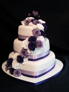 heart shape 3 tiers wedding cakes pictures | Wedding9
