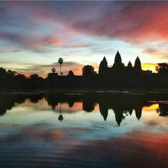 "Stamp #579 - Cambodia: Sunrise at Ankor Wat! The best place to see sunrise at Ankor Wat is on the left side of the pond as it slopes up. Most people bottleneck on the right-hand side leaving front-row ""seats"" available for people coming a little later in the morning!  Thank you @awaywestray for leaving your #Stamp!!  For more awesome travel tips and adventures download the Stamp Travel App Today. The link is in our bio!"