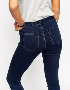 Image 3 ofASOS 'Sculpt Me' Premium Jeans In Drew Dark Wash Blue