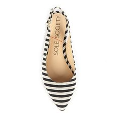 Black & white striped slingback pointed toe flats