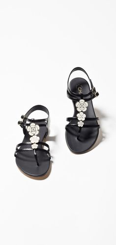 Sandals, calfskin-black - CHANEL