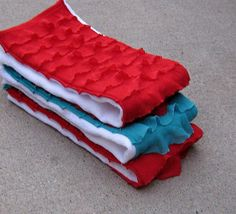 Custom Ruffled Burp Cloths- Red and Turquoise Set of 3