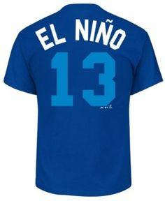 Majestic Men's Salvador Perez Kansas City Royals Little League Player T-Shirt - Blue XL