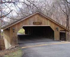 Covered Bridge in Lenexa, Kansas at the entrance to the Whispering Hills subdivision east of K7 on 87th street