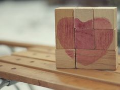 DIY Valentine Crafts: Natural Beet Dye - Recycle old wooden toy blocks and naturally dye them with red beet to create a cute Valentine's Heart. - Ecolicious.me