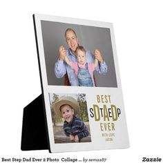 Best Step Dad Ever 2 Photo Collage White And Gold Plaque - fathers day best dad diy gift idea cyo personalize father family Stepdad Fathers Day Gifts, Gifts For Father, Dad Gifts, Family Photo Collages, Landscape Concept, 2 Photos, Best Dad, Home Gifts, Dads