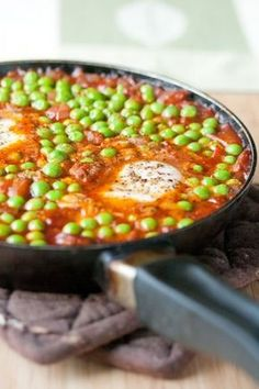 Portuguese Peas with Chorizo and Egg
