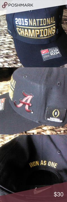 2'Mens Nike 2015 National champions Alabama hat Black, Velcro  fasten in the back, Nike check on the back Accessories Hats