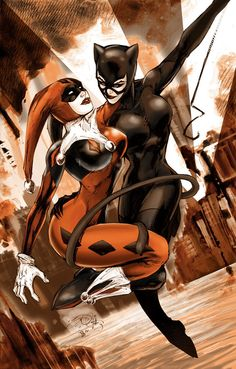 ✯ Harley Quinn and Catwoman .. By !adartwork✯