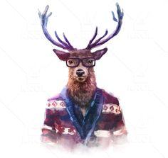 Watercolor Hipster Deer